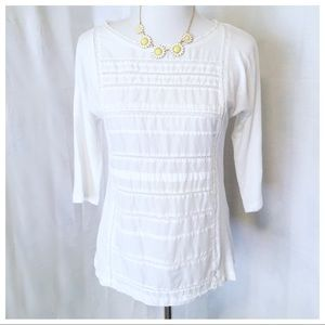 J.Crew ~ White Lace Panel Top -Size XS (Small)